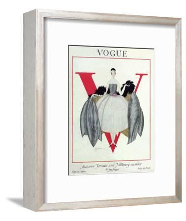 Vogue Cover - September 1920 - Wrapped in Feathers-Georges Lepape-Framed Premium Giclee Print