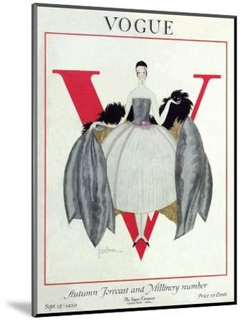 Vogue Cover - September 1920 - Wrapped in Feathers-Georges Lepape-Mounted Premium Giclee Print