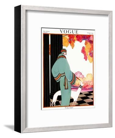 Vogue Cover - October 1922 - Dressed to Teal-Helen Dryden-Framed Premium Giclee Print