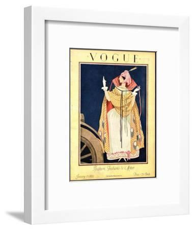 Vogue Cover - January 1923-George Wolfe Plank-Framed Premium Giclee Print