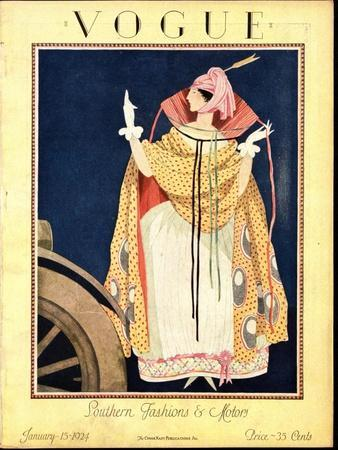 Vogue Cover - January 1923-George Wolfe Plank-Stretched Canvas Print