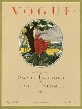 Vogue Cover - May 1923-Leslie Saalburg-Stretched Canvas Print