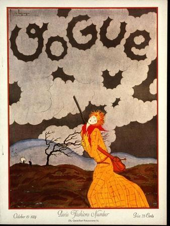 Vogue Cover - October 1924-Georges Lepape-Framed Premium Giclee Print
