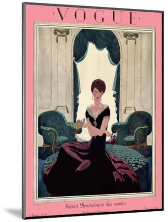 Vogue Cover - August 1925-Pierre Brissaud-Mounted Premium Giclee Print
