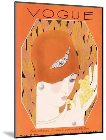 Vogue Cover - August 1927-Georges Lepape-Mounted Premium Giclee Print