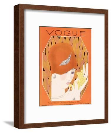 Vogue Cover - August 1927-Georges Lepape-Framed Premium Giclee Print