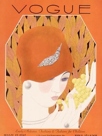 Vogue Cover - August 1927-Georges Lepape-Stretched Canvas Print