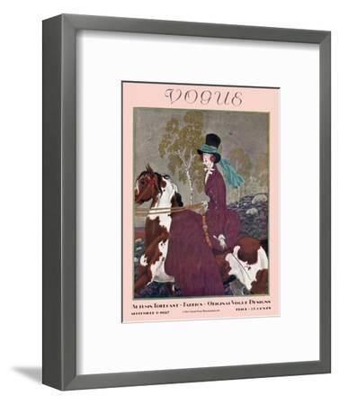 Vogue Cover - September 1927-Pierre Brissaud-Framed Premium Giclee Print