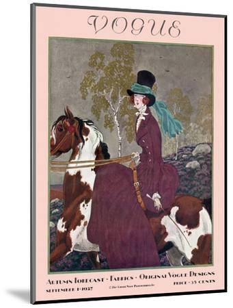 Vogue Cover - September 1927-Pierre Brissaud-Mounted Premium Giclee Print