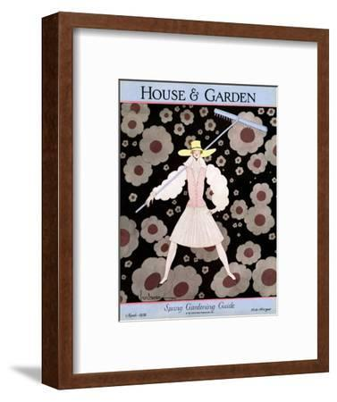 House & Garden Cover - March 1928-Georges Lepape-Framed Premium Giclee Print