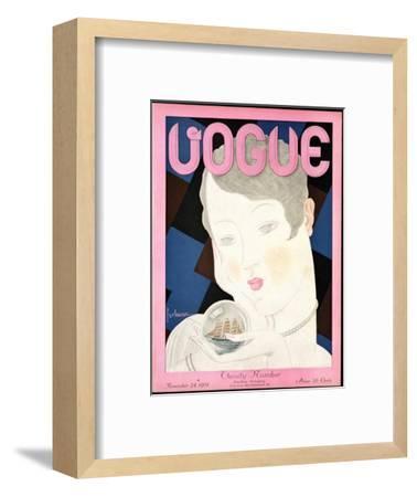 Vogue Cover - November 1928-Georges Lepape-Framed Premium Giclee Print