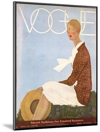 Vogue Cover - May 1929-Georges Lepape-Mounted Premium Giclee Print