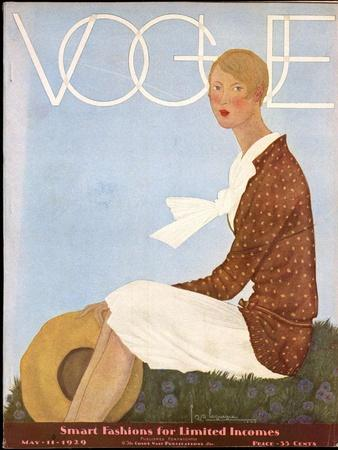 Vogue Cover - May 1929-Georges Lepape-Stretched Canvas Print