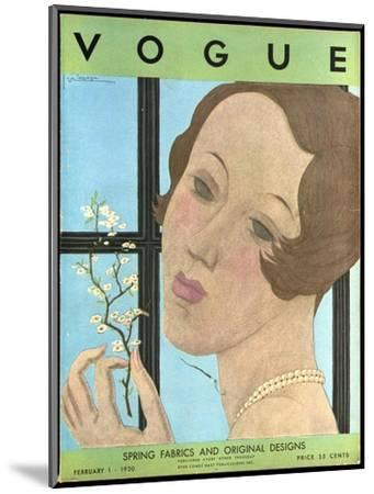 Vogue Cover - February 1930-Georges Lepape-Mounted Premium Giclee Print