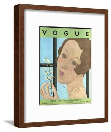 Vogue Cover - February 1930-Georges Lepape-Framed Premium Giclee Print