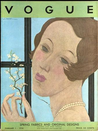 Vogue Cover - February 1930-Georges Lepape-Stretched Canvas Print