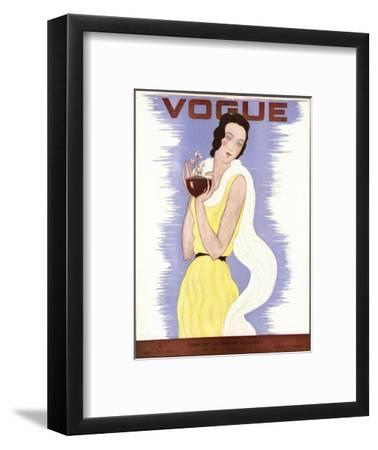 Vogue Cover - January 1931-Georges Lepape-Framed Premium Giclee Print