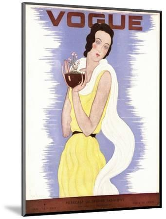 Vogue Cover - January 1931-Georges Lepape-Mounted Premium Giclee Print