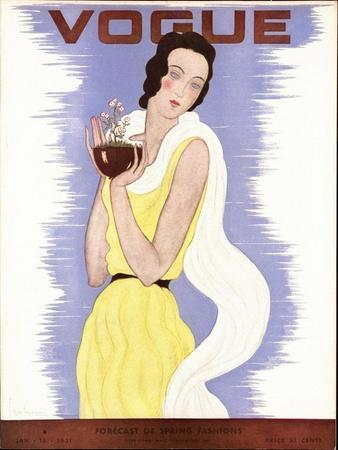 Vogue Cover - January 1931-Georges Lepape-Stretched Canvas Print