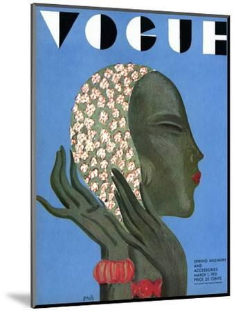 Vogue Cover - March 1931-Eduardo Garcia Benito-Mounted Premium Giclee Print
