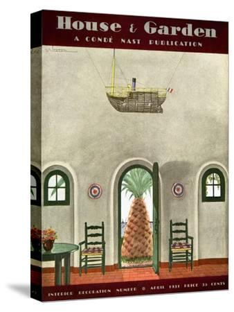 House & Garden Cover - April 1931-Georges Lepape-Stretched Canvas Print