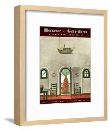 House & Garden Cover - April 1931-Georges Lepape-Framed Premium Giclee Print