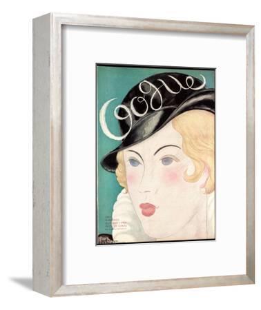 Vogue Cover - October 1931-Georges Lepape-Framed Premium Giclee Print