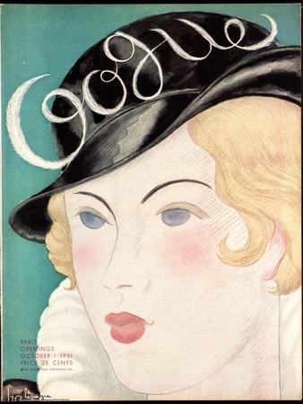 Vogue Cover - October 1931-Georges Lepape-Stretched Canvas Print