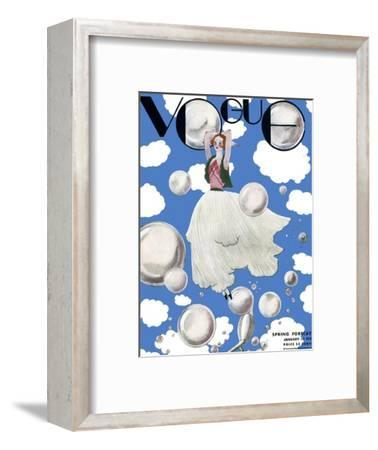Vogue Cover - January 1932 - Clouds and Bubbles-Georges Lepape-Framed Premium Giclee Print