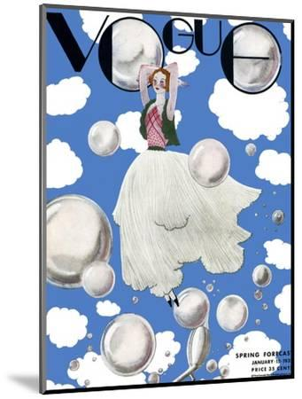 Vogue Cover - January 1932 - Clouds and Bubbles-Georges Lepape-Mounted Premium Giclee Print