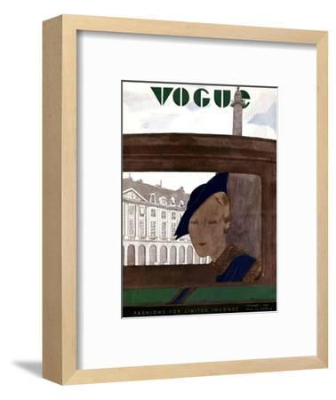 Vogue Cover - November 1932-Pierre Mourgue-Framed Premium Giclee Print