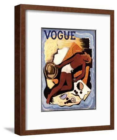 Vogue Cover - June 1933-Georges Lepape-Framed Premium Giclee Print