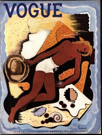 Vogue Cover - June 1933-Georges Lepape-Stretched Canvas Print