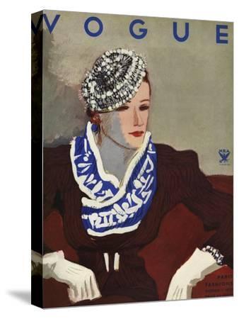 Vogue Cover - October 1933-Eduardo Garcia Benito-Stretched Canvas Print