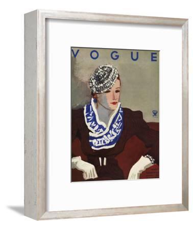 Vogue Cover - October 1933-Eduardo Garcia Benito-Framed Premium Giclee Print