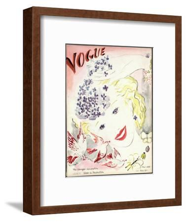 Vogue Cover - May 1935-Marcel Vertes-Framed Premium Giclee Print