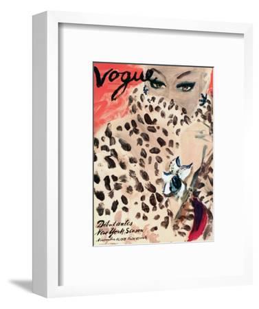 "Vogue Cover - November 1939 - Leopard Love-Carl ""Eric"" Erickson-Framed Premium Giclee Print"