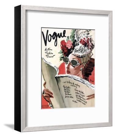 Vogue Cover - July 1941 - Summer Reading-Ren? Bou?t-Willaumez-Framed Premium Giclee Print