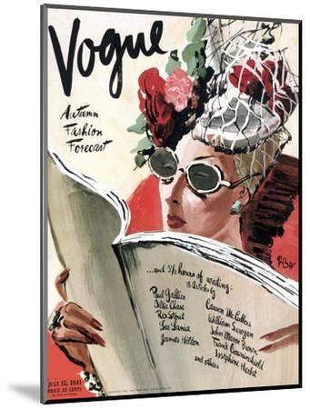 Vogue Cover - July 1941 - Summer Reading-Ren? Bou?t-Willaumez-Mounted Premium Giclee Print