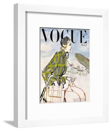 "Vogue Cover - January 1947 - Travel Fashion-Carl ""Eric"" Erickson-Framed Premium Giclee Print"