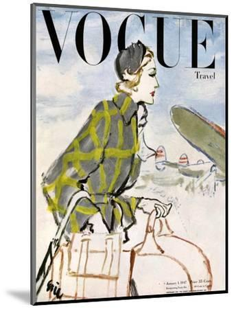 "Vogue Cover - January 1947 - Travel Fashion-Carl ""Eric"" Erickson-Mounted Premium Giclee Print"
