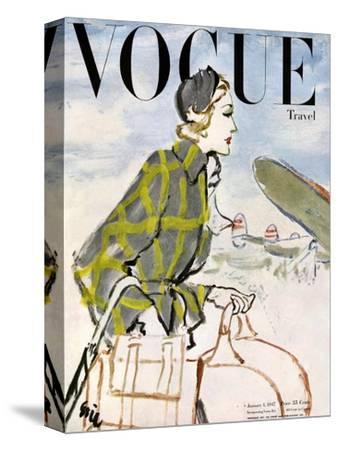 "Vogue Cover - January 1947 - Travel Fashion-Carl ""Eric"" Erickson-Stretched Canvas Print"
