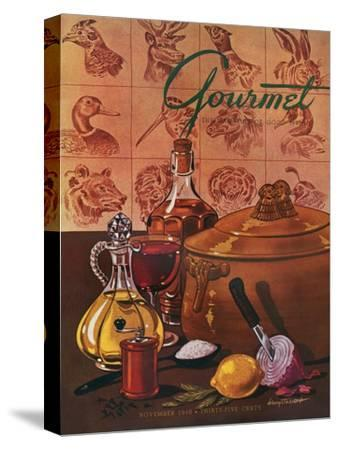 Gourmet Cover - November 1948-Henry Stahlhut-Stretched Canvas Print