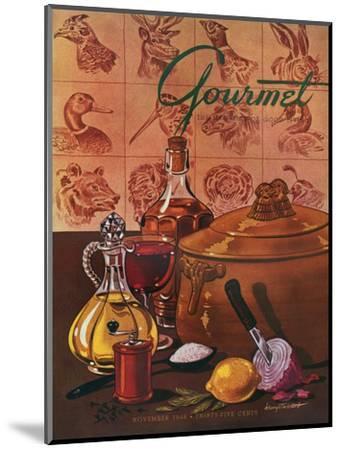 Gourmet Cover - November 1948-Henry Stahlhut-Mounted Premium Giclee Print