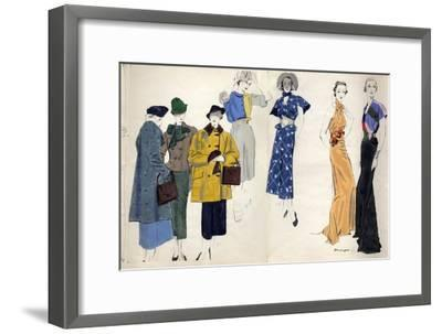 Vogue - January 1935-Pierre Mourgue-Framed Premium Giclee Print