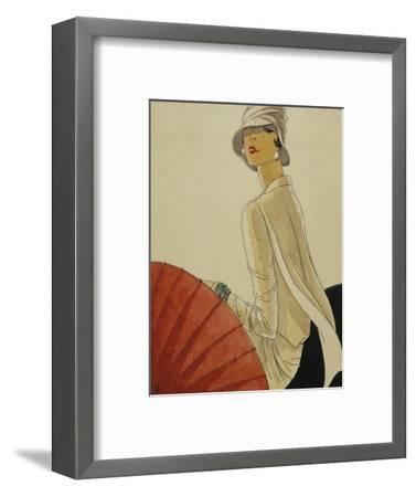 Vogue - January 1928 - Red Parasol-Porter Woodruff-Framed Premium Giclee Print
