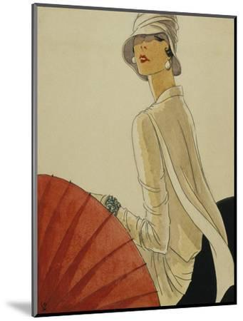 Vogue - January 1928 - Red Parasol-Porter Woodruff-Mounted Premium Giclee Print