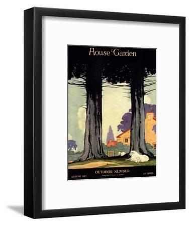 House & Garden Cover - August 1917-Charles Livingston Bull-Framed Premium Giclee Print