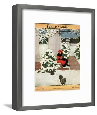House & Garden Cover - January 1917-Ethel Franklin Betts Baines-Framed Premium Giclee Print