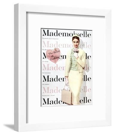 Mademoiselle Cover - February 1955-George Barkentin-Framed Premium Giclee Print